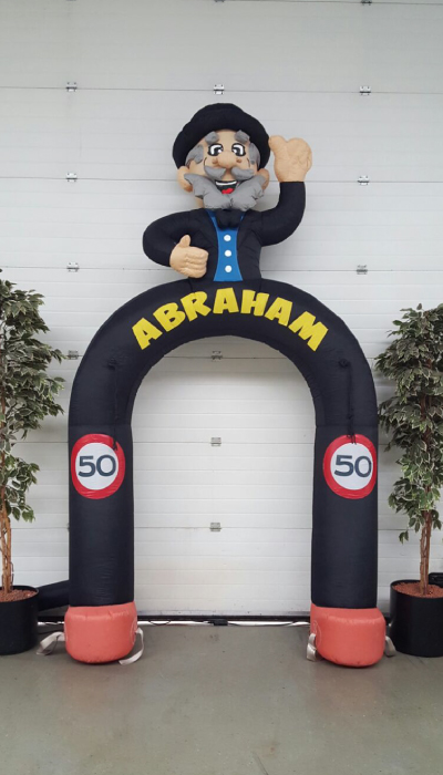 abraham feestboog party pop partypop opblaasfiguur opblaasfiguren Nijkerk Barneveld Abraham Sarah Kerstman Clown Feestboog Feestbogen