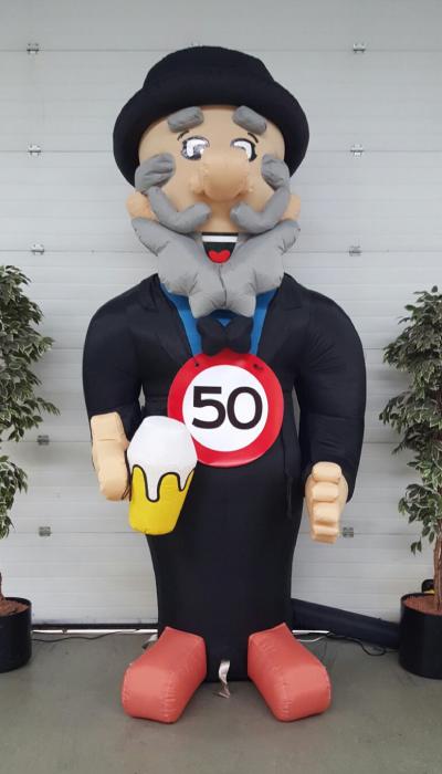 party pop partypop opblaasfiguur opblaasfiguren Amersfoort Verjaardag Verjaardagen Feest Viering Feestballon 50jaar 50 jaar man