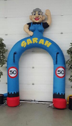 Sarah Feestboog party pop partypop opblaasfiguur opblaasfiguren Nijkerk Barneveld Abraham Sarah Kerstman Clown Feestboog Feestbogen 50jaar 50 jaar Partyboog feestboog feestbogen